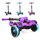 6KU Kick Scooter for Kids & Toddlers Girls or Boys with Adjustable Height, Lean to Steer, Flashing Wheels for Toy Children 3-8 Years Old Purple