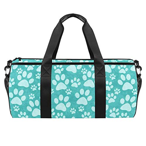 KAIXINJIUHAO 18' Totes and Zipper for Gym Gear, Sports Balls, ,Teal Doggy Paw Print