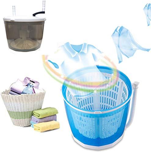 ZRSH 2 in1 Mini Waschmaschine und Wäscheschleuder, Camping Waschautomat bis 2kg, Faltbarer Dehydrationsgriff, Tragbare Toplader Reisewaschmaschine mit Schleuderfunktion,Grau