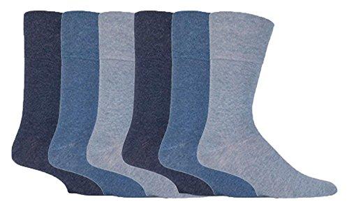 Gentle Grip - Herren 6 Paare von Diabetiker Socken mit Bienenwabe Top & handgekettelte Spitze Nähte - 39-45 Eur (Blau)
