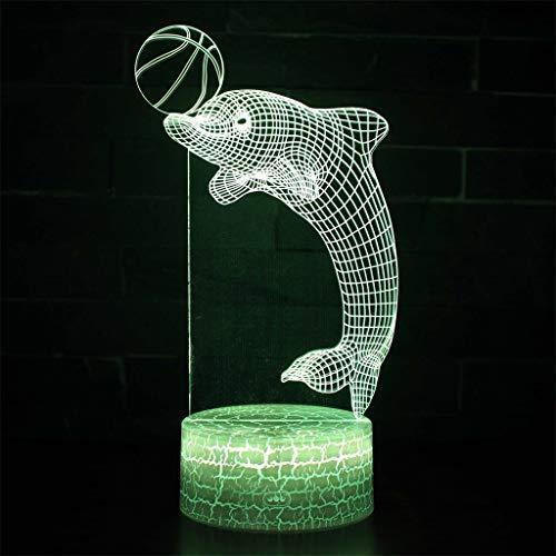 Illumination 3D / Veilleuse à LED, 7 couleurs, Crack Base, Toucher/Télécommande, Cadeaux pour enfants, Lumières de sculptures d'art et Câble USB, Décoration pour aquarium
