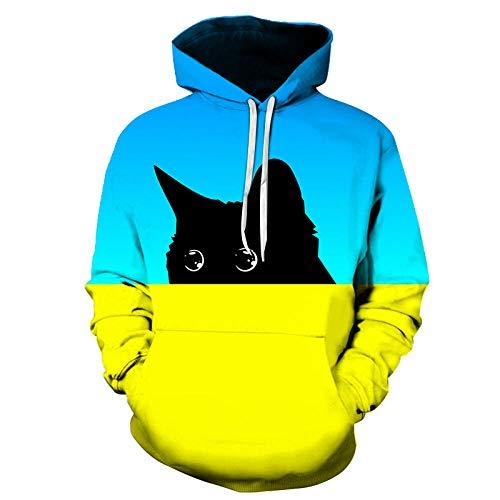 RKWEI Sudaderas con Capucha Animal Cat Unisex 3D Print Ligero Pullover Sudadera con Capucha Sudaderas con...