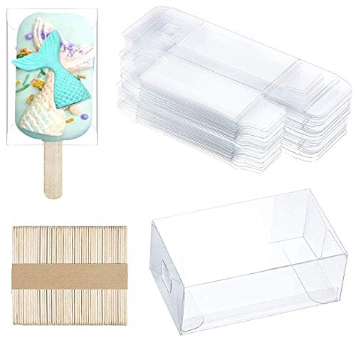 25pcs Clear Popsicle Cakesicle Boxes, Transparent PET Candy Treat Box Ice Cream Box Plastic Gift box with 50pcs Wooden Popsicle Stick for Kitchen Baking Baby Shower Wedding Kids Birthday Party Favor