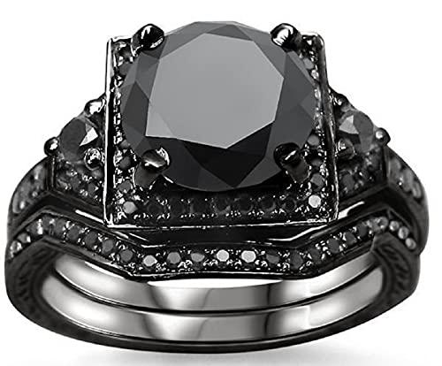 SILVERHUB Anillo de compromiso con halo de diamantes de circonita negra de 3,05 quilates, chapado en oro negro de 14 quilates, plata 925, Metal, circonita,
