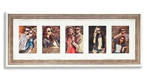 levandeo Bilderrahmen für 5 Fotos weiß braun Taupe mit Glasscheiben - zum Aufhängen Fotogalerie Fotocollage Fotorahmen Bildergalerie Collage Holzoptik