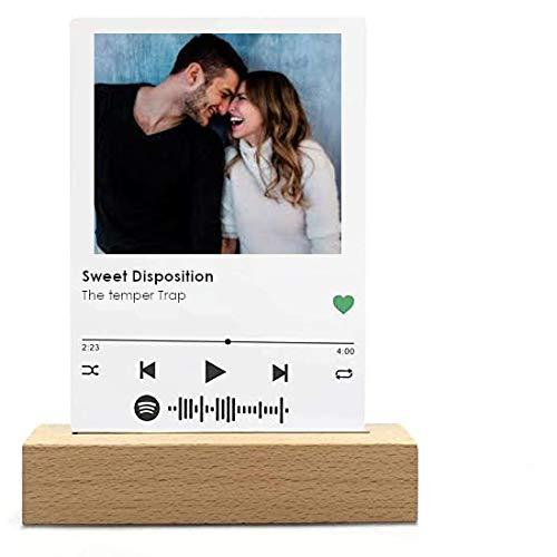 Placa Musical Marco Spotify metacrilato o Madera, Regalo y Recuerdos 10X15cm (Metacrilato)