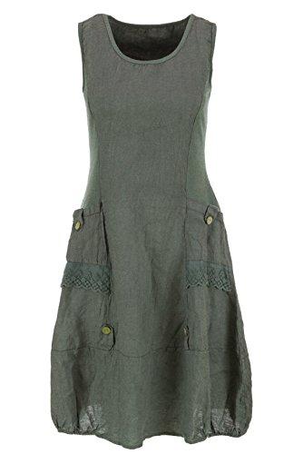 Italienische Mode Leinenkleid ärmellos mit Spitze (Olivgrün, 40)