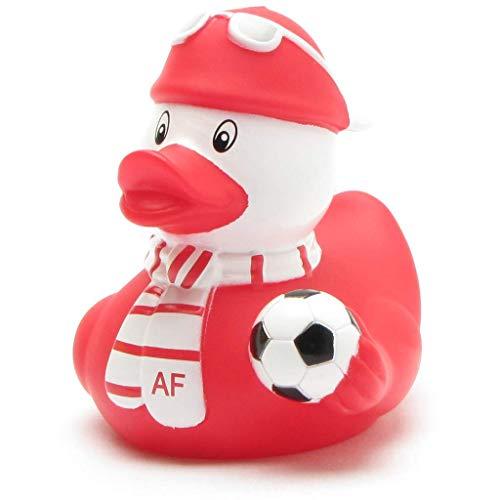 Duckshop I Badeente Fußball-Fan rot-Weiss I Quietscheente I L: 8 cm