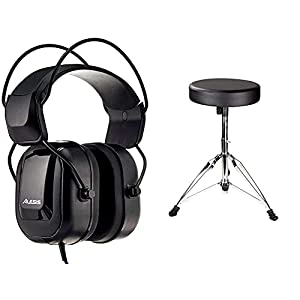 Alesis DRP100 - Over-Ear Reference Headphones Built for Professional Electronic Drum Monitoring and Superior Audio Isolation & RockJAM DP-001 Adjustable Drum Stool Drum Throne with Padded Seat