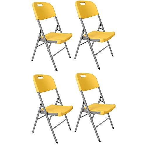Stühle WX Xin Klappstühle 4 Pk. HDPE Klappstuhl Starker Stahlrahmen, Bequemer Sitz, Easy Store Away Zum Gast, Besucher Konferenz Strandkörbe (Color : Yellow, Size : 4 Chairs)