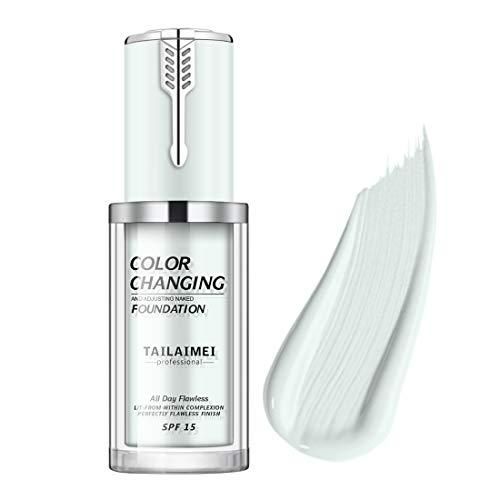 Tailaimei flüssige Make-up-Basis, natürlicher Farbton Makellose Make-up-Basis mit Farbwechsel Make-up-Basis Feuchtigkeitsspendende flüssige Abdeck-Concealer für nacktes Gesicht