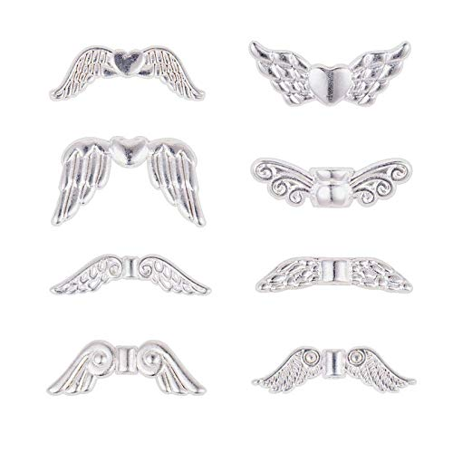 YuuHeeER 8 estilos de plata forma de ala estilo tibetano cuentas de aleación encanto espaciador 160 piezas 8 estilo plata
