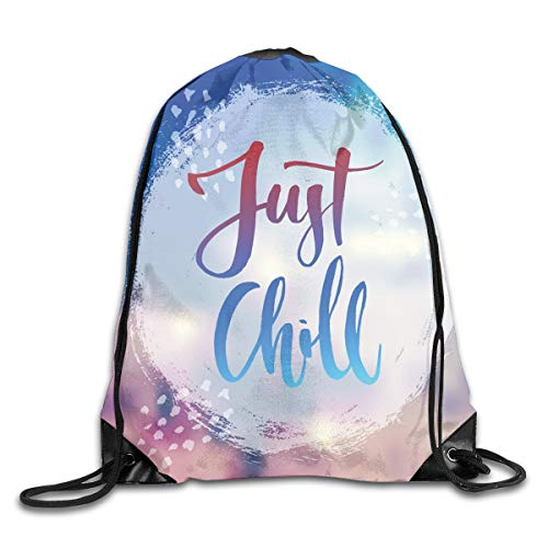 Just Chill Duvet Cover Set Handwritten Painting Calligraphy On A Wooden Background Flip Flops Summer Theme,Multicolor_2Gym Bag