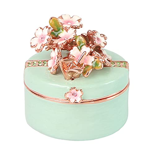 ROEWP Caja de joyería Adornos, Flores de Cerezo Grúas de Origami Caja de Anillos de joyería, Pendiente Caja de Almacenamiento, Cumpleaños de niña Boda (Color : Green)