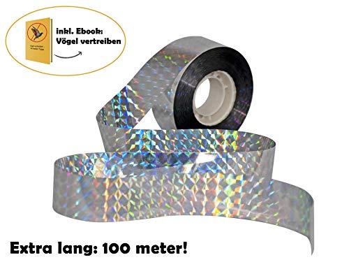 tiroba Effektive Vogelabwehr Vogelband | extra lang 100m | inkl. ebook