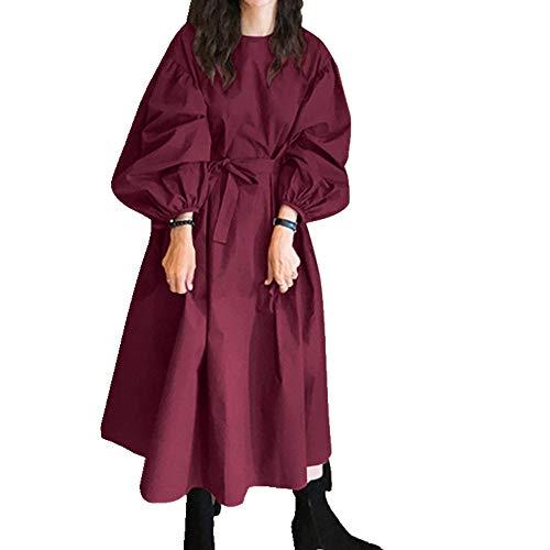 N\P Vestido casual de la camisa de las mujeres de otoño manga soplo maxi femenino botón con cinturón bata de gran tamaño 5XL