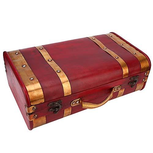 Caja de almacenamiento vintage de madera, caja de cofre del tesoro con cerradura de maleta de joyería de lujo para accesorios de fotografía de decoración de escritorio