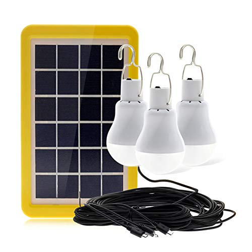 Solar Portable Smart Light Control Bulb Solar Panel Lamp USB Powered Rechargeable Lamps for Home Shed Barn Indoor Outdoor Emergency Hiking Tent Reading Camping (3 Bulbs with Light Control Sensor)