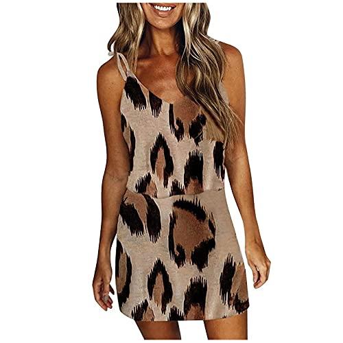 Vestido de Mujer Casual Suelto a Rayas Estampado Corbata con Cuello en V Manga Corta Casual Vestido de Rayas Honda Leopardo Mujer Corto con cordón con Bolsillo sin Mangas con Bolsillo Vestido