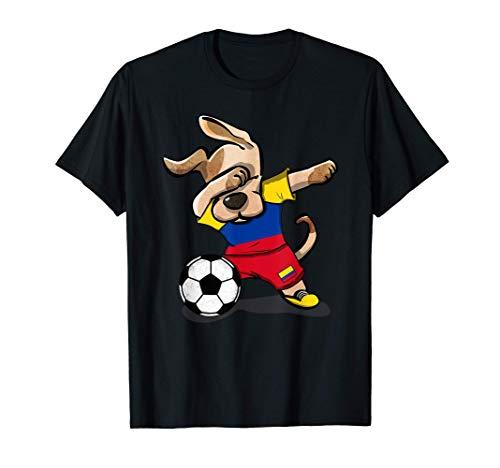 Dabbing Dog Colombia Calcio Bandiera Colombiana Calcio Maglietta