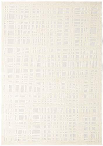 RugVista, Tracy Everyday Teppich, Modern, Kurzflor, 140 x 200 cm, Rechteckiger, Oeko-Tex Standard 100, Polypropylene, Flur, Schlafzimmer, Küche, Wohnzimmer, Weiß