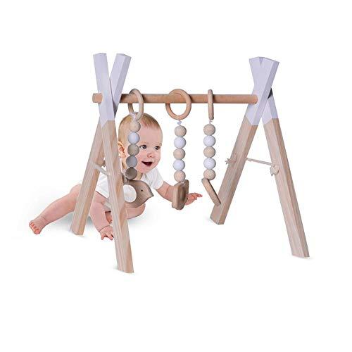 NAKELUCY Gimnasio de Madera para bebés, Estructura de Gimnasio Estable y Plegable, Barra para Colgar en el Gimnasio de Actividades de Madera para bebés Mayores de 3 Meses, 17.72x14.56x18.5in