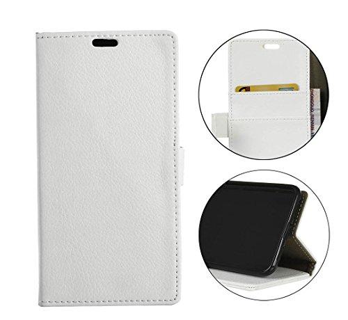 Sunrive Hülle Für bq Aquaris X2/X2 PRO, Magnetisch Schaltfläche Ledertasche Schutzhülle Hülle Handyhülle Schalen Handy Tasche Lederhülle(Litchi weiß 1)+Gratis Universal Eingabestift