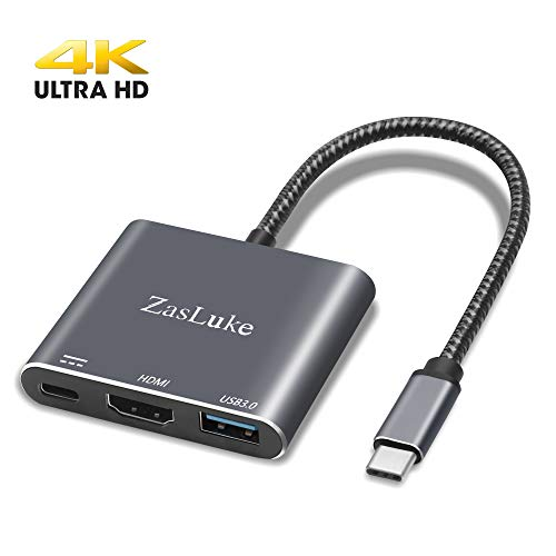 Zasluke USB C to HDMI Adapter, USB 3.1 Type C Hub to HDMI 4K,USB 3.0 Port, USB C Charging Port Converter Adapter for MacBook, Chromebook Pixel, iMac, Nintendo Switch, Samsung Galaxy S8/S9 Plus, Yoga