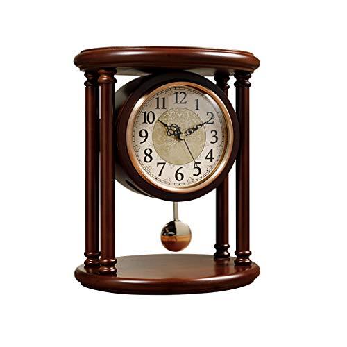 kerryshop Reloj Despertador Reloj de Madera Maciza Columpio Péndulo Mudo Reloj de Madera Decorativo con Pilas Diseño Diseño Cocina y decoración del hogar Reloj de Escritorio