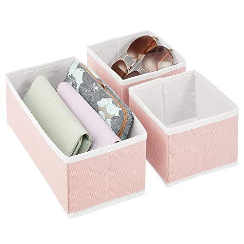 mDesign Juego de 3 Cajas organizadoras – Cestas de Tela de Diferentes tamaños para cajones – Organizadores para armarios para Guardar Calcetines, Ropa Interior y más – Rosa/Blanco