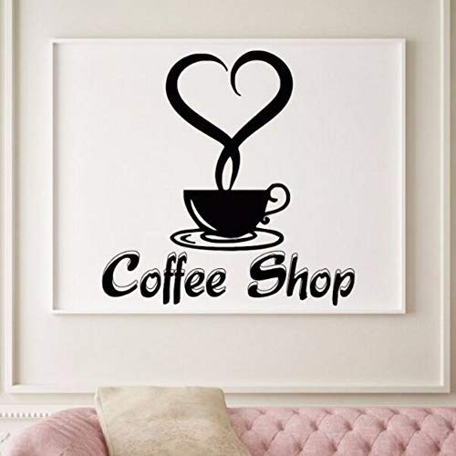 57X57Cm Coffee Shop Logo Etiqueta de la pared Good Coffee Wall Decal Vinyl Cafe Shop Wall Poster Cup Tea Kitchen Decor Window Stickers