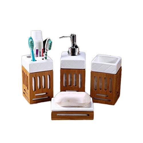 Juego de Accesorios de Baño Moderno Conjunto de accesorios de baño simple, accesorio de baño de 4 piezas completa con dispensador de loción, taza, jabonera, titular de cepillo de dientes Juego de Acce