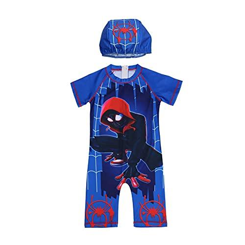 MYYLY Enfants Cosplay Spiderman Maillot Bain Garçon Fille Surf 2 Pièces Manches Courtes Maillots Nouveauté UV Protection Extérieure Ensemble Plage Vacances,Blue-S Kids (105~115CM)