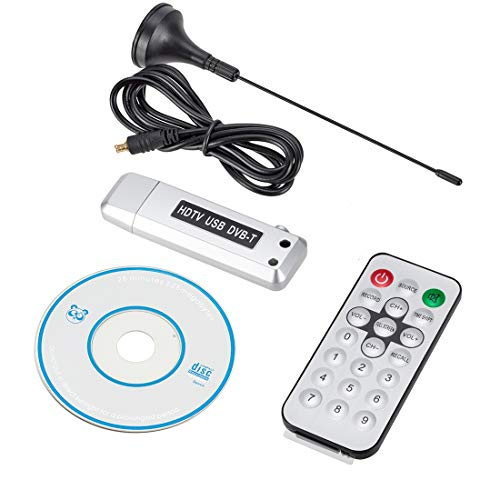 Leluckly1 Cable Compacto y Ligero Coche TV de DVB-T TV Digital Receptor HDMI USB DVB-T con el Simple Control Remoto y práctico (Plata) (Color : Silver)