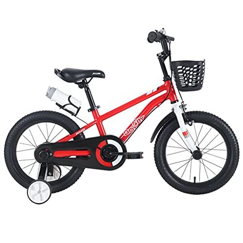 ZXQZ Bicicleta de 14'16' 18'para Niñas Y Niños De 3 A 12 Años, Bicicleta para Niños con Estabilizadores, Botella de Agua y Soporte (Color : Red 16 Inches)
