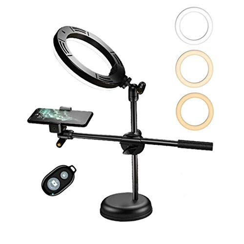 Dpliu 7.9-Inch Selfie Ring Light With Tripod Phone Holder Dimmable Camera Ring Light Bluetooth Remote Shutter Suitable For Makeup Photography 3 Color Modes