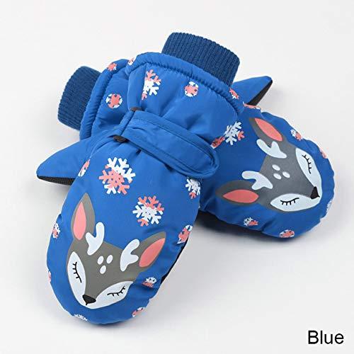 DJLHNNouveaux Gants de Ski d'hiver tricotés pour Enfants de 8 à 12 Ans Gants Chauds pour garçons et Filles Gants d'hiver Chauds et épais en Velours - Bleu Marine