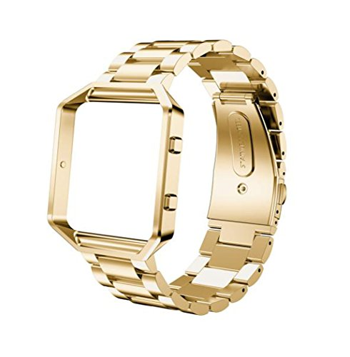 TopTen Correa de reloj con marco compatible con Fitbit Blaze Smartwatch, pulsera de acero inoxidable Accesorios de repuesto Correa de muñeca ajustable