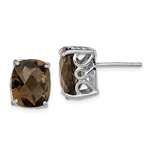 925 Sterling Silver Smoky Quartz Post Stud Earrings Gemstone Fine Jewellery For Women Gifts For Her