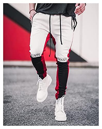 YTG 2020 Hombres del Basculador Remiendo gimnasios de Fitness Culturismo Pantalones Hombre Pantalones gimnasios Corredores Ropa Pantalones Sweatpants (Color : White Black, Size : M)