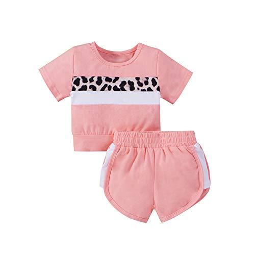 Carolilly Juego completo de 2 piezas de ropa deportiva para niña, de verano, unisex, camiseta de manga corta, estampado de leopardo + pantalones cortos deportivos Rosa 6-9 Meses