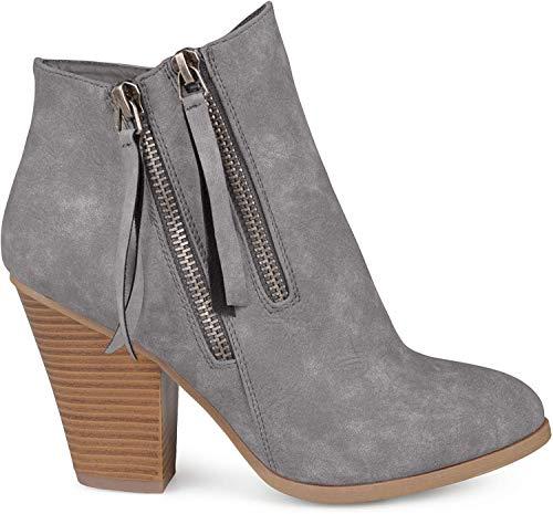 Brinley Co. Womens Faux Suede Stacked Wood Heel Double Zipper Booties Grey, 8 Regular US