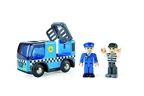 Hape E3738 - Macchina della polizia con sirena, compatibile con treno in legno, accessori per binari