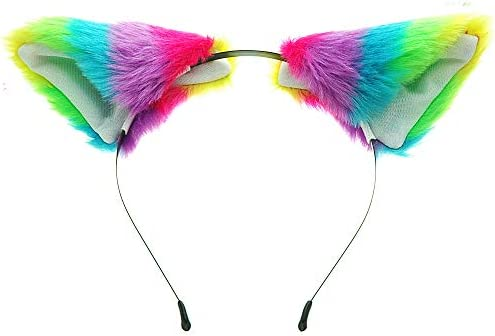 E-TING Long Fur Cat Ears Anime Cosplay Headband Hairband Halloween Cosplay Party Costume