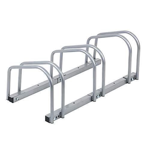 Aparcamiento Para Bicicleta Soporte,3 Bicicletas, 35-60 mm Ancho de Llanta, Estacionamiento, Piso, Almacenamiento, Montaje en Pared, Bicicleta, al Aire Libre, Soporte de Bloqueo (Plateado)