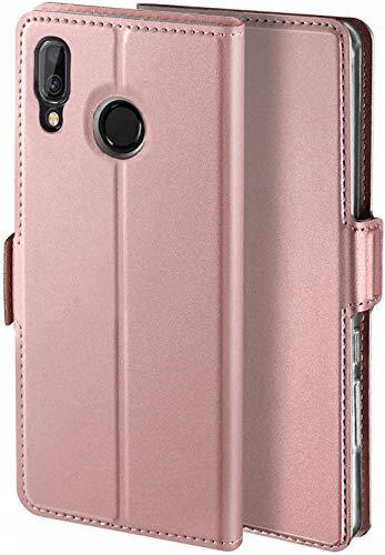 YATWIN Handyhülle für Huawei Y7 2019 Hülle Premium Leder Flip Hülle Schutzhülle für Huawei Y7 Prime 2019 Handytasche, Rose Gold