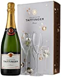 Taittinger Brut Reserve Non Vintage Champagne and Glasses Gift Set