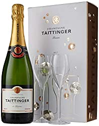 Taittinger Brut Reserve Champagne and Glasses Gift Set, 75 cl