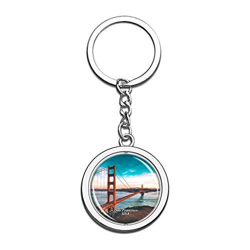 Hqiyaols Keychain USA Amerika Golden Gate Bridge San Francisco Kristall Drehen Rostfreier Stahl Schlüsselbund Reisen Stadt Andenken Schlüsselring