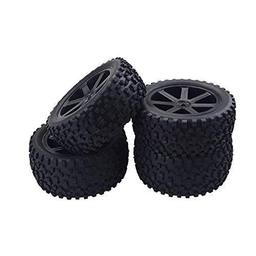 Ruedas de Llantas traseras Delanteras Establecer 12 mm Hex Hubs Inserciones de Espuma para REDCAT HPI 0 RC 1/10 Off DERIGHT Buggy Car Blanco (Color : Black)